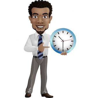 Kreskówka biznesmen trzyma ściennego zegar i wskazuje