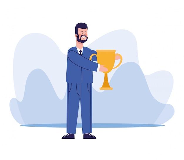 Kreskówka biznesmen trzyma trofeum filiżankę