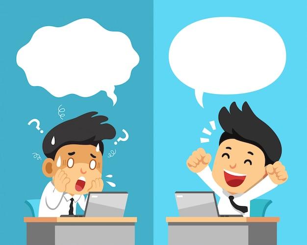 Kreskówka biznesmen wyraża różne emocje