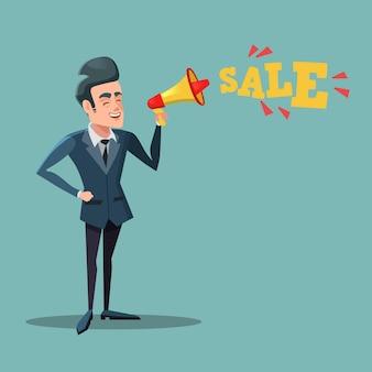 Kreskówka biznesmen z megafonem promuje sprzedaż. duża obniżka.