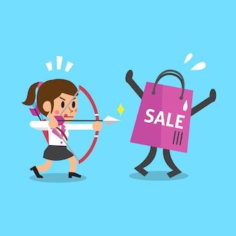 Kreskówka bizneswoman i torba na zakupy