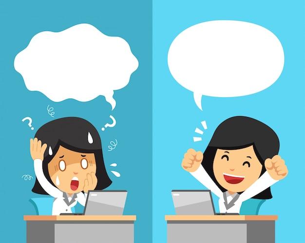 Kreskówka bizneswoman wyraża różne emocje