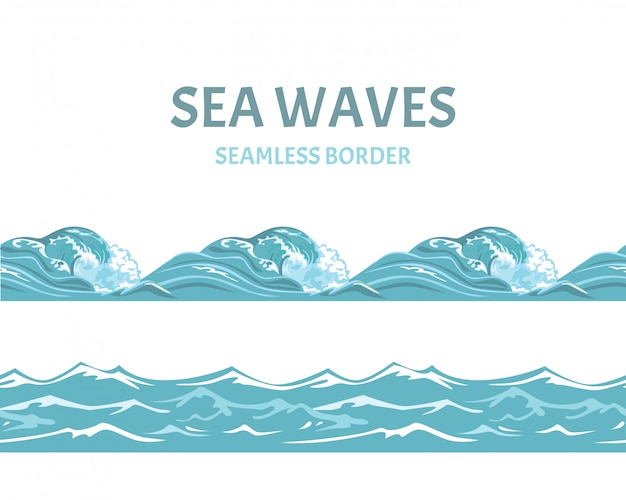 Kreskówka błękitne morze i fale bez szwu granicy.