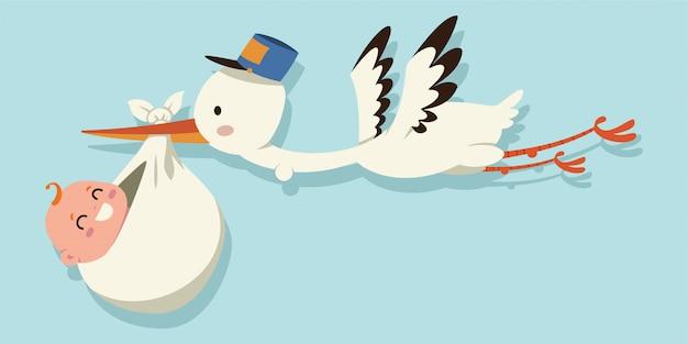Kreskówka bocian i dziecko. ilustracja latającego ptaka przewożącego noworodka na białym tle na niebieskim tle.