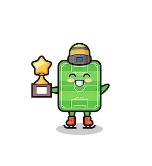 Kreskówka boisko do piłki nożnej jako gracz na łyżwach trzyma trofeum zwycięzcy, ładny styl na koszulkę, naklejkę, element logo