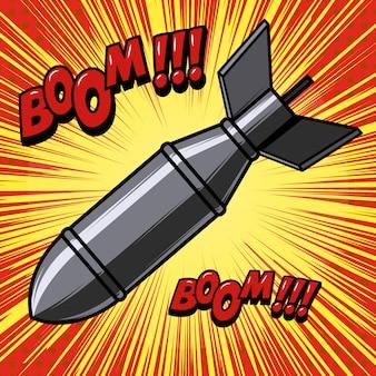 Kreskówka bomba na tle z liniami prędkości. element plakatu, druku, karty, banera, ulotki. wizerunek