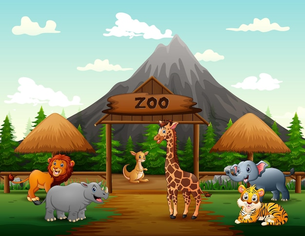 Kreskówka bram wejściowych do zoo z ilustracją zwierząt safari