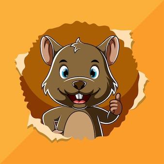Kreskówka brązowa mysz stoi i uśmiecha się z wyrwanej dziury