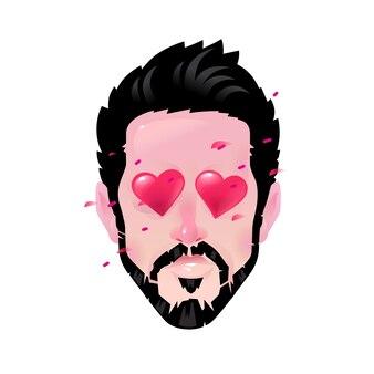Kreskówka brodaty mężczyzna, ilustracja kochanka, oczy w kształcie serca.