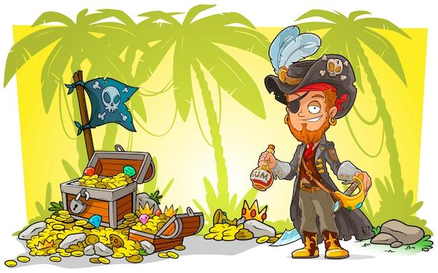 Kreskówka brodaty pirat z rumem i skrzynią skarbów