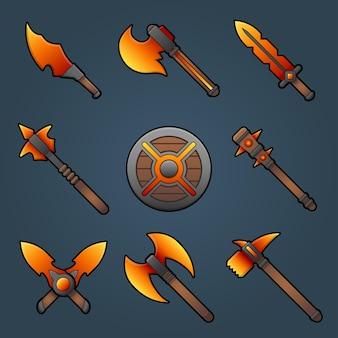 Kreskówka broń clipart zestaw z kolorowym mieczem, nożem, mieczem, tarczą z ognia do gry