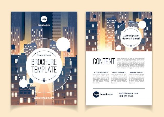 Kreskówka broszura z gród nocą, megapolis z nowoczesnymi budynkami, wieżowce