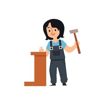 Kreskówka budowniczy dziewczyna trzyma młotek i wbija metalowy gwóźdź