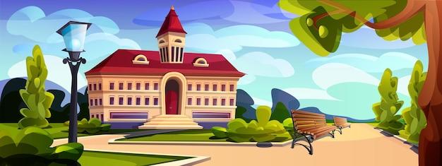 Kreskówka budynek na zewnątrz uniwersytetu, college'u lub szkoły
