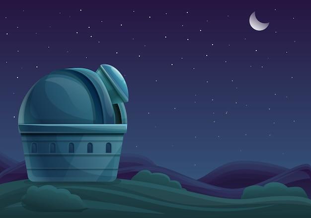 Kreskówka budynek obserwatorium przy nocą z teleskopem w niebie z gwiazdami, wektorowa ilustracja