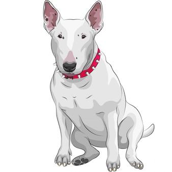 Kreskówka bull terrier pies rasy siedzi