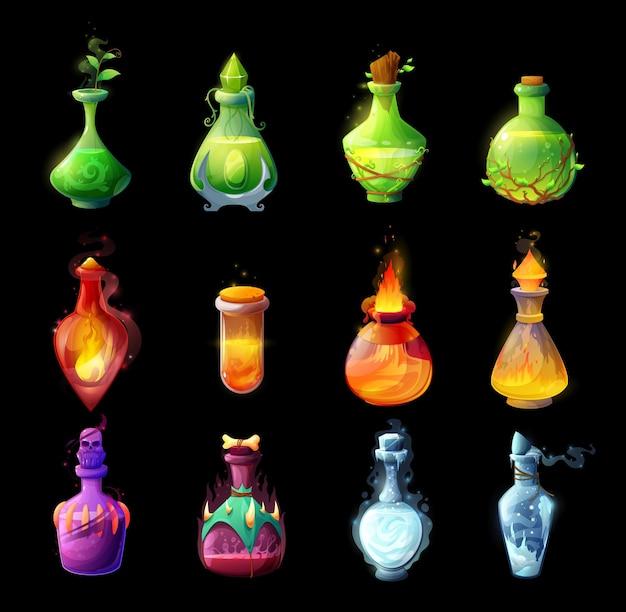 Kreskówka butelki mikstur, magiczne zaklęcia i eliksiry szklane bańki. życie, śmierć lub roślina rośnie, ogień i mikstury lukier z liśćmi roślin, czaszką, płomieniem i lodem. interfejs użytkownika gry fantasy, ikona interfejsu gui