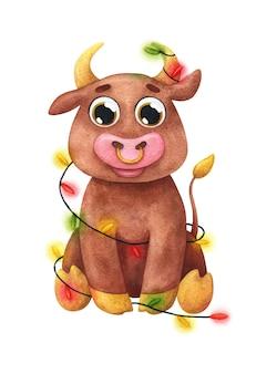 Kreskówka byk w ozdoby świąteczne. ilustracja z symbolem nowego roku 2021.