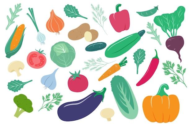 Kreskówka cebula, kukurydza i marchewka, ogórek i ziemniak, kapusta