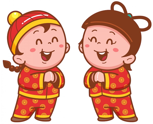 Kreskówka chiński dziecko