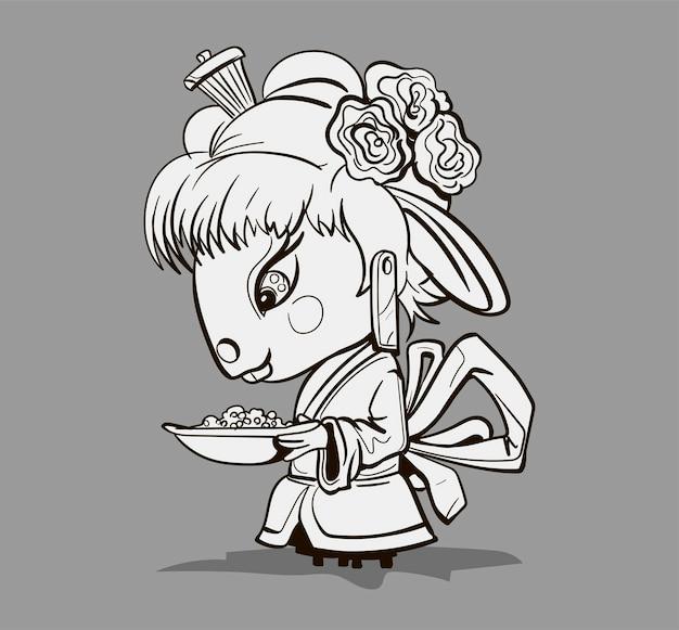 Kreskówka chińskiego zodiaku. kolorowanki z ręcznie rysowane postaci myszy gejsza. wektor projekt karty z pozdrowieniami, ulotki, zaproszenia, plakaty, broszury, banery, kalendarz.