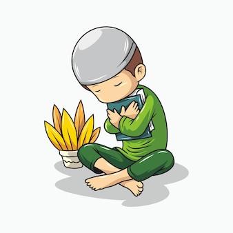 Kreskówka chłopca przytulanie koranu
