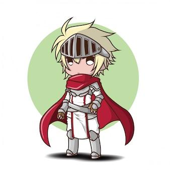 Kreskówka chłopca w kostium rycerza