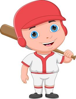 Kreskówka chłopiec baseballista pozowanie