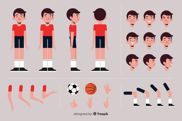 Kreskówka chłopiec charakter sportowy szablon