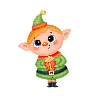 Kreskówka chłopiec elf świąteczny z prezentem