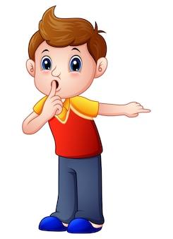 Kreskówka chłopiec gestykuluje dla ciszy
