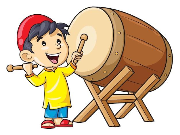 Kreskówka chłopiec gra bęben bedug
