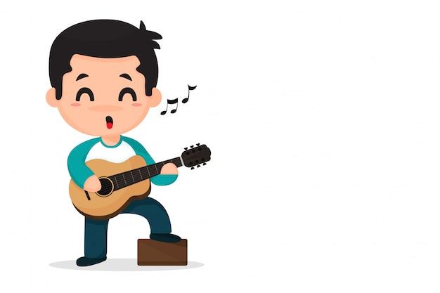 Kreskówka chłopiec gra muzyka i śpiew.