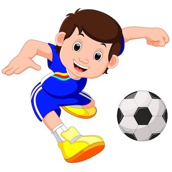 Kreskówka chłopiec gra w piłkę nożną