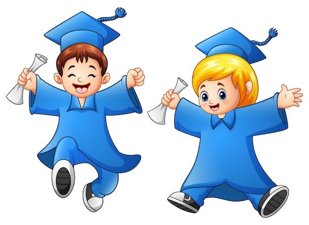 Kreskówka chłopiec i dziewczyna ukończenia szkoły