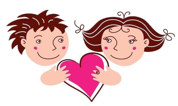 Kreskówka chłopiec i dziewczyna w miłości