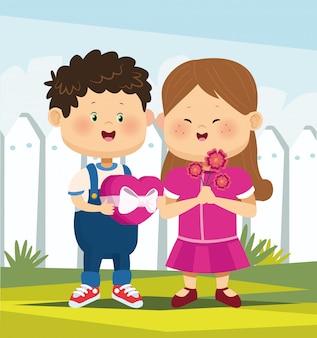 Kreskówka chłopiec i dziewczynka zakochana w polu czekoladki i kwiaty na białym płocie