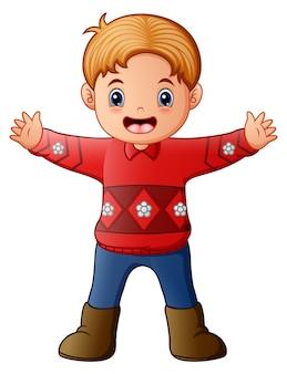Kreskówka chłopiec jest ubranym czerwonego pulower