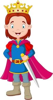 Kreskówka chłopiec jest ubranym książe kostium