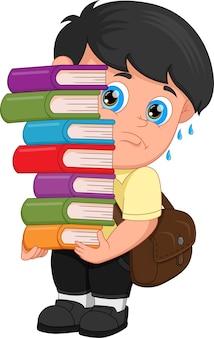 Kreskówka chłopiec niosący dużo książek