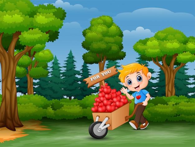 Kreskówka chłopiec pcha stos serca w drewnianym tramwaju dla ciebie