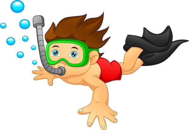 Kreskówka chłopiec snorkeling