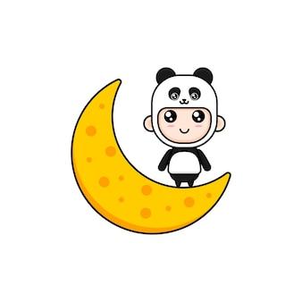 Kreskówka chłopiec ubrany w kostium pandy