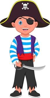 Kreskówka chłopiec ubrany w kostium pirata i trzymający miecz