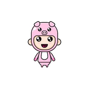 Kreskówka chłopiec ubrany w kostium świni