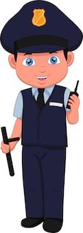 Kreskówka chłopiec ubrany w strój policji, pozowanie i rozmawia przez radio