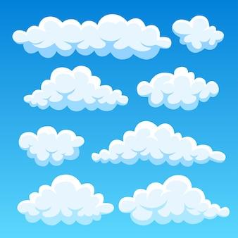 Kreskówka chmury na niebieskim niebie. cloudscape na tle. niebo.
