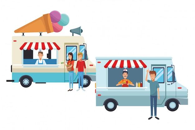 Kreskówka ciężarówka lody