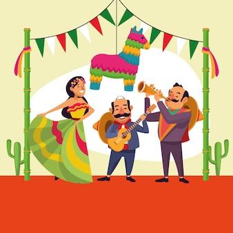 Kreskówka cinco de mayo meksykanów
