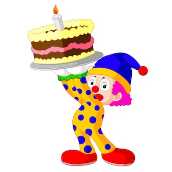 Kreskówka clown z ciastem